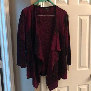 Kasper magenta/black drape sweater 2x